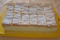 "In terms of taste, my lemon-mascarpone slices are reminiscent of the ""Kinder Paradiso"", only my taste a lot better. Light, thin lemon biscuit with fine mascarpone lemon cream. Easy Vanilla Cake Recipe, Easy Cake Recipes, Easy Desserts, Baking Recipes, Cookie Recipes, Dessert Recipes, Dessert Diet, Quark Recipes, Dessert Simple"