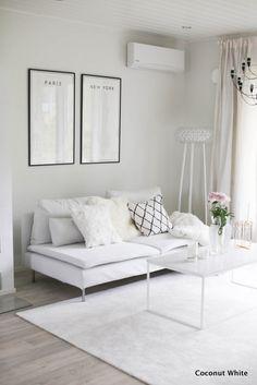 Kaupunkitaulut paikallaan olohuoneessa ja päätös | Coconut White