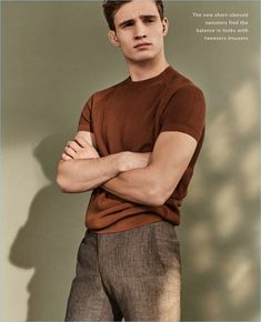Model Julian Schneyder dons a short-sleeve sweater from Massimo Dutti.