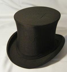 Vintage Collapsible Folding Black Opera Top Hat with Box from Hall & Hancock Boston