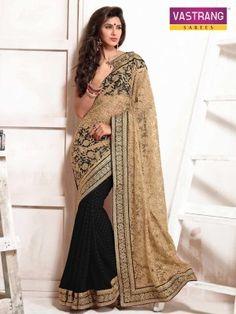 Vastrang Black/Beige chiffon butti with Net pallu & heavy embroidery saree.