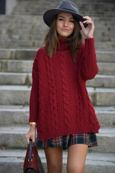 Burgundy cable + plaid