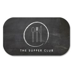 Rustic Chalkboard Drawing Of A Fork Spoon Knife On This Business Card Template For