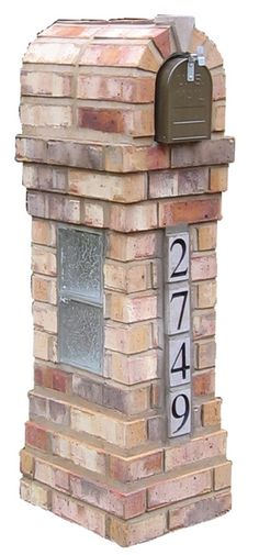 Another view of the same mailbox column design, this time with keystone and glass block inserts.