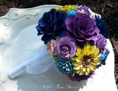 Paper Flower Bouquet - Wedding Bouquet - Purple and Navy w/ Sunflowers - Made to Order - Any Color Combo