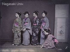 """This hairstyle, called """"tenjinmage,"""" was popular from the end of the Edo Period to the Meiji Period. The hair is arranged in an ordinary fashion, and the style of dress suggests that the women are novice workers beginning to learn their trade. About 1880's, by Usui Shuzaburo"""