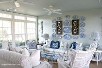 Blue and White Sun Room - Home Tours