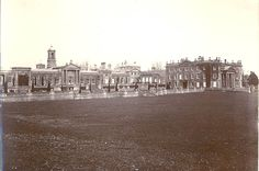 Bowood House, Wiltshire. Home of the Marquesses of Lansdowne. The main house seen on the right of the photo no longer remains, although the part of the left which opens on to the terrace still survives.