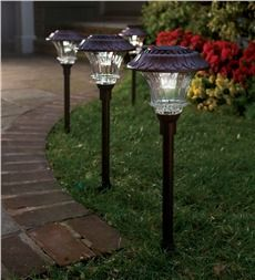 Aluminum and Glass Solar LED Path Lights, Set of 4