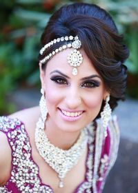 Indian Wedding Hairstyle - Side Parted With Stones Studded Headpiece