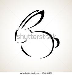 Easter card with rabbit outline - stock vector