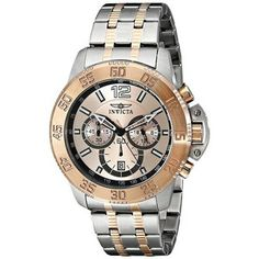 New Mens Invicta 17449 Specialty Analog Display Two Tone Bracelet Watch Cool Watches, Rolex Watches, Watches For Men, Quartz Watch, Chronograph, Bracelet Watch, Bracelets, Gold, Display
