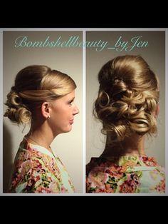 Curled bridal updo or prom updo--created by @bombshellbeautybyjen @revivesalonsrq in Sarasota, FL http://www.revivesalonsarasota.com