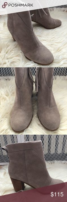 """TOMS Suede Tan Lunata Booties Perfect Condition. Only worn in the house once. Size 8. Heel Height is 3"""". Toms Shoes Ankle Boots & Booties"""