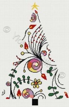 Modern Christmas tree cross stitch kit or pattern | Yiotas XStitch