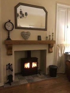 Empty Fireplace Ideas, Wood Burner Fireplace, Inglenook Fireplace, Fireplace Shelves, Oak Shelves, Rustic Fireplaces, Mantle Ideas, Wood Stove Wall, Wood Stove Surround
