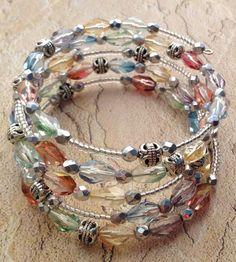 A Little Bit of Spring memory wire bracelet. by KristenMiedreich A Little Bit of Spring memory wire bracelet. by KristenMiedreich Memory Wire Jewelry, Memory Wire Bracelets, Resin Jewelry, Jewelry Crafts, Beaded Jewelry, Jewelry Sets, Jewelry Bracelets, Jewelry Trends, Wire Jewellery