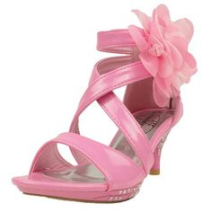 Kids Dress Sandals Strappy Patent Leather Flower High Heel Girls Pink SZ 4. Run 1/2 size small. Heels under about 2 inches. Materials. Available in Black, Fuchsia, Pink, Lilac, Yellow, Silver, and White Sizes 10-4. Platform. Rhinestones. 2 inches. Ankle strap. 5 inch. Heel. Variation Attributes: Size - 4 M US Big Kid. Man Made Patent Leather. Item Dimensions: weight: 150, width: 1000, height: 400 hundredths-inches.