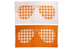 Beach Towel.  So Fun.   S. Moss Reversible Sunglasses, Tangerine  #sunglasses #inspiration [I wonder, do they prick holes in the fabric!] ;)