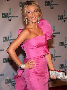 Julianne Hough was pretty in a hot pink Angel Sanchez gown, Ralph Lauren