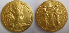 Ancient Coins - SASANIAN KINGS. Shapur I. 240-272 AD. Gold Dinar. Rare, Unpublished Variety