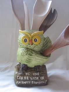 Retro Wise Old Owl Kitchen Utensil Canister by gremlina on Etsy