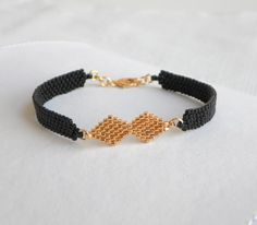 Black gold beaded bracelet, Geometric bracelet, Elegant black jewelry, Black gold filled bead bracelet, Birthday gift for wife Black Jewelry, Cute Jewelry, Jewelry Gifts, Gold Jewelry, Women Jewelry, Beaded Jewelry Designs, Bead Embroidery Jewelry, Fashion Bracelets, Gifts For Women