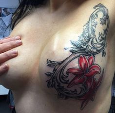 Love these lilys and the bold red! Great mastectomy tattoo total scar coverage.             ( p-ink.org )