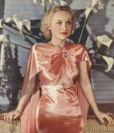 Carole Lombard wearing Travis Banton. 1930s. (Ms. Lombard honoured with 1000th! pin on SDP board)
