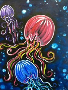 Neon Jellyfish - Sugar Land, TX Painting Class - Painting with a Twist