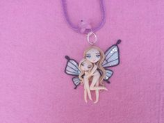 Mother and daughter necklace butterfly polymer clay por Artmary2, €22.00