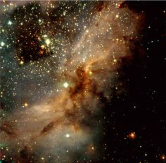 Peering into a Star Factory. This is a near-infrared, colour-coded composite image of a sky field in the south-western part of the galactic star-forming region Messier 17. In this image, young and heavily obscured stars are recognized by their red colour. Bluer objects are either foreground stars or well-developed massive stars whose intense light ionizes the hydrogen in this region.