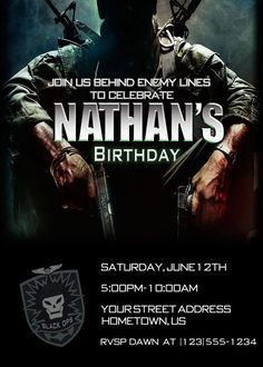 -Call of Duty Black Ops Party Invitations. Military Party, Army Party, 13th Birthday Parties, Boy Birthday, Birthday Ideas, Teenage Boy Party, Holiday Party Themes, Party Ideas, Camouflage Birthday Party