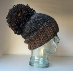 Chunky Chocolate Brown and Gret Baby Alpaca Toque by KnittinInKits