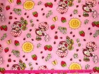 1 Yard Vintage Strawberry Shortcake Cartoon Fabric on Pink Cotton with Suns, flowers, bees, berries