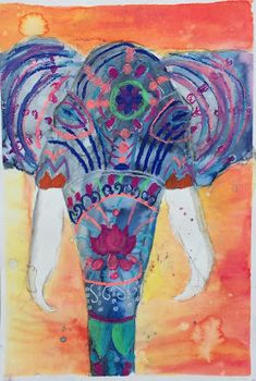 Doodlebug Dabblings: elephants from india watercolor and pastel