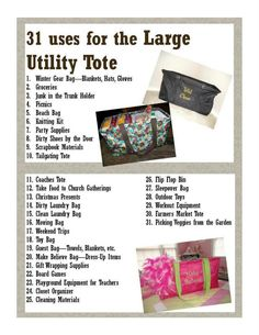 Uses for Large Utility Tote from Thirty One. I have at least 4 of these totes and love them!  pattydec@yahoo.com  or shop at   www.LoveMy31Bags.com