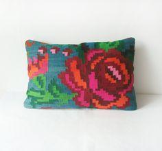 Flower Kilim Pillow Cover - Home decor - Bohemian Ethnic Wool Rustic Antique Romanian Hand Woven Kilim Pillow Case Bright 16 x 24. $94.00, via Etsy.