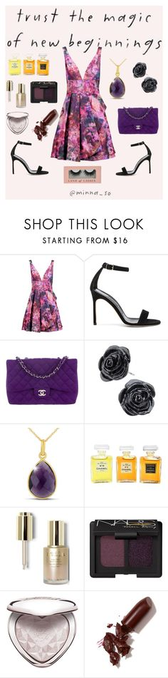 """""""Untitled #74"""" by bemira12 ❤ liked on Polyvore featuring Notte by Marchesa, Manolo Blahnik, Chanel, Stila, NARS Cosmetics, Too Faced Cosmetics and LAQA & Co."""