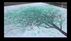 Beautiful street art turns footsteps into trees