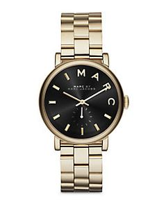 Marc by Marc Jacobs - Baker Goldtone Stainless Steel Bracelet Watch/Black