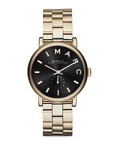 Marc by Marc Jacobs - Baker Goldtone Stainless Steel Bracelet Watch/Black