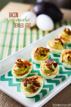 Bacon Guacamole Deviled Eggs | Two appetizer favorites in one, these Deviled Eggs take on the best qualities of the popular avocado dip and nix the chip!