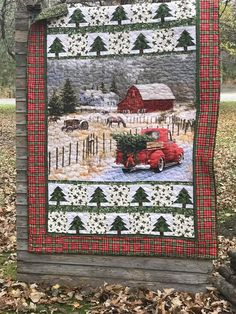 Christmas Red Truck, Vintage Christmas, Christmas Sewing, Christmas Items, Christmas Crafts, Xmas, Cute Quilts, Lap Quilts, Mini Quilts