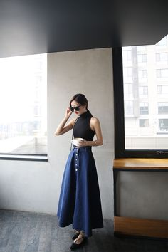 long jeans skirt Taiwan Online Shop Korean Style Asian Style Street Style Simple Dress