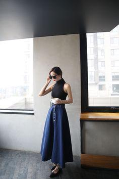 long jeans skirt Taiwan Online Shop Korean Style Asian Style Street Style Simple Dress