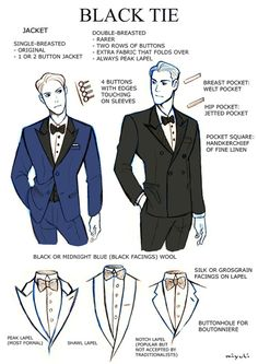 "badass-art-tutorials: ""miyuli: "" I've been studying the classic black tie dress code (mainly from here) so I thought I could share my notes. Maybe they can be helpful to someone else, too. If I made any mistakes or things are really confusing please. Suit Drawing, Drawing Tips, Drawing Style, Cap Drawing, Anatomy Drawing, Anatomy Reference, Drawing Reference, Vetements Clothing, Poses References"