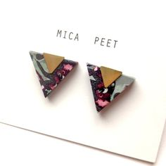 Triangle Earrings Geometric Earrings / Studs - Laser Cut Wood Geometric Jewellery Triangle Jewellery Stocking Fillers - Blue