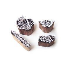 Fish and Butterfly Contemporary Motif Wood Block Stamps (Set of 4) #RoyalKraft #ArtDeco
