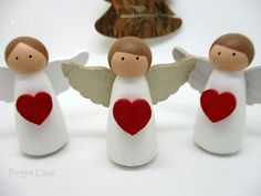 Set of 3 Christmas decorations Angel Peg Doll Angel Christmas Angel Crafts, Christmas Favors, Homemade Christmas, Christmas Angels, Christmas Crafts, Christmas Decorations, Christmas Ornaments, Christmas Tree, Wood Peg Dolls